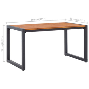 Garden Table with U-shaped Legs 160x80x75 cm Solid Acacia Wood