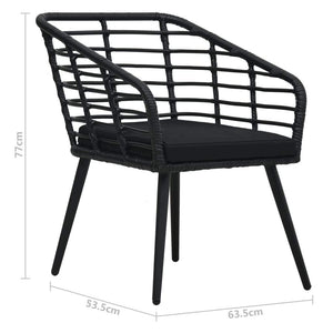 Garden Chairs with Cushions 2 pcs Poly Rattan Black