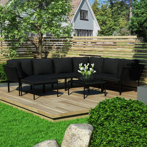 8 Piece Garden Lounge Set with Cushions Black PVC
