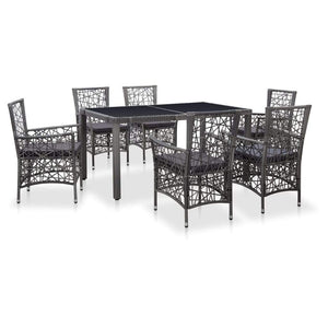 7 Piece Outdoor Dining Set Poly Rattan Grey