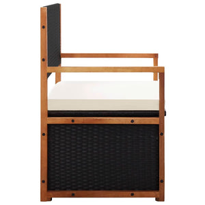 Storage Bench 110 cm Poly Rattan and Solid Acacia Wood Black