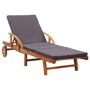 Sun Lounger with Cushion Solid Acacia Wood sku 46026