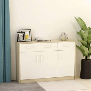 Sideboard White and Sonoma Oak 110x34x75 cm Chipboard