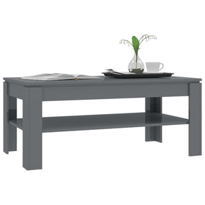 Coffee Table High Gloss Grey 110x60x47 cm Chipboard