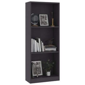 3-Tier Book Cabinet Grey 40x24x108 cm Chipboard