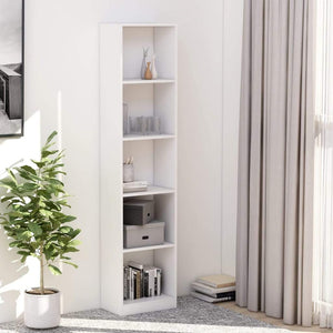 5-Tier Book Cabinet White 40x24x175 cm Chipboard