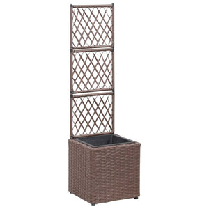 Trellis Raised Bed with 1 Pot 30x30x107 cm Poly Rattan Brown