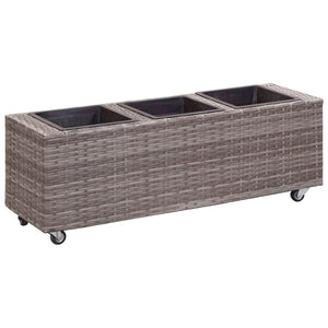Garden Raised Bed with 3 Pots 100x30x36 cm Poly Rattan Grey
