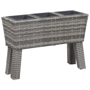 Garden Raised Bed with Legs and 3 Pots 72x25x50 cm Poly Rattan Grey