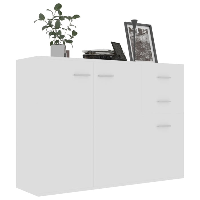 Sideboard High Gloss White 105x30x75 cm Chipboard