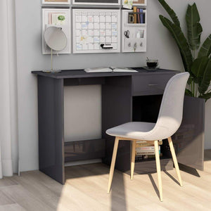 Desk High Gloss Grey 100x50x76 cm Chipboard sku 801088