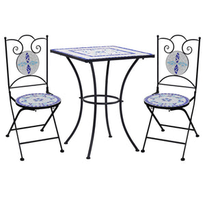 3 Piece Mosaic Bistro Set Ceramic Tile Blue and White