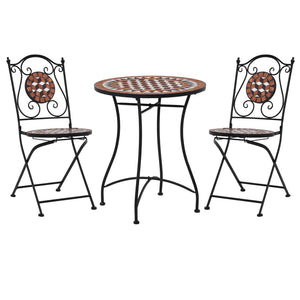 3 Piece Mosaic Bistro Set Ceramic Tile Terracotta sku 279689