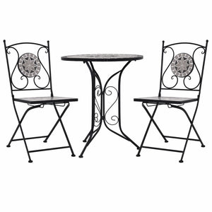 3 Piece Mosaic Bistro Set Ceramic Tile Grey