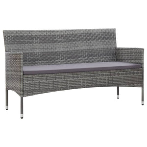 3-Seater Garden Sofa with Cushions Grey Poly Rattan
