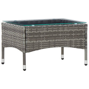 Coffee Table Grey 60x40x36 cm Poly Rattan