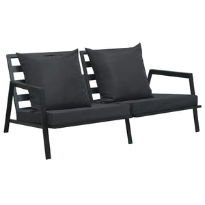 Garden 2-Seater Sofa with Cushions Dark Grey Aluminium