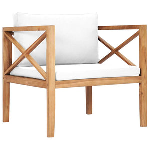 Garden Chair with Cream Cushions Solid Teak Wood