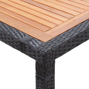 Garden Table Black 200x150x74 cm Poly Rattan and Acacia Wood