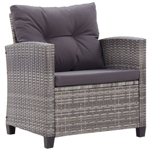 6 Piece Garden Sofa Set with Cushions Poly Rattan Dark Grey