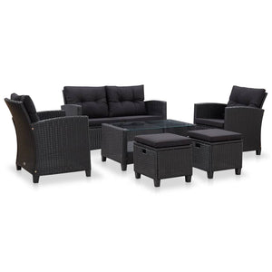 6 Piece Garden Sofa Set with Cushions Poly Rattan Black