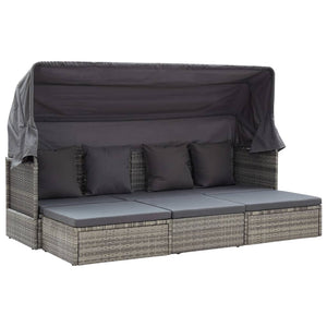 Garden Lounge Bed with Roof Mixed Grey 200x60x124 cm Poly Rattan