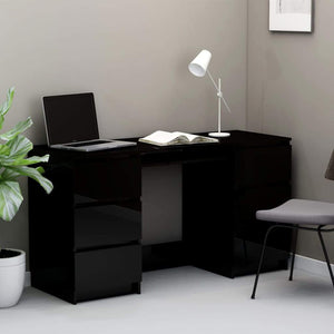 Writing Desk High Gloss Black 140x50x77 cm Chipboard