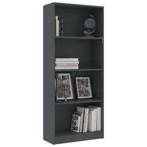 4-Tier Book Cabinet Grey 60x24x142 cm Chipboard