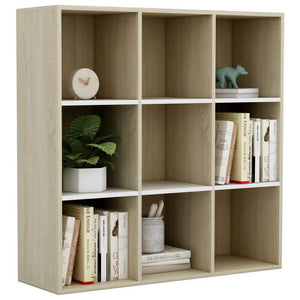 Book Cabinet White and Sonoma Oak 98x30x98 cm Chipboard sku 801130