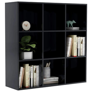 Book Cabinet High Gloss Black 98x30x98 cm Chipboard sku 801132