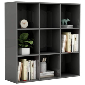 Book Cabinet High Gloss Grey 98x30x98 cm Chipboard sku 801133
