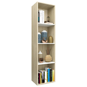 Book Cabinet/TV Cabinet White and Sonoma Oak 36x30x143 cm