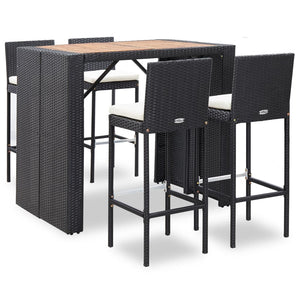 5 Piece Outdoor Bar Set Poly Rattan and Acacia Wood Black sku 49564