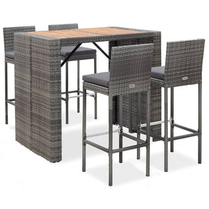 5 Piece Outdoor Bar Set Poly Rattan and Acacia Wood Grey