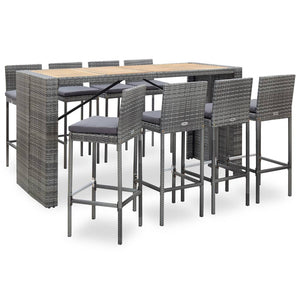 9 Piece Outdoor Bar Set Poly Rattan and Acacia Wood Grey