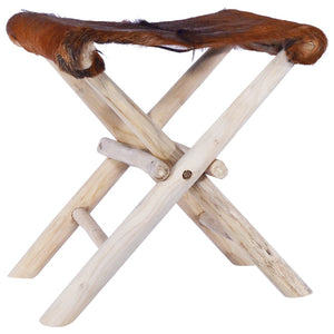 Folding Stool Real Leather and Solid Teak Wood