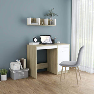 Desk White and Sonoma Oak 100x50x76 cm Chipboard sku 801801