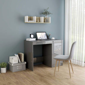 Desk High Gloss Grey 100x50x76 cm Chipboard sku 801804