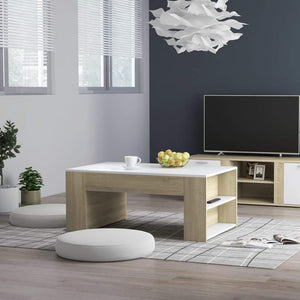 Coffee Table White and Sonoma Oak 100x60x42 cm Chipboard sku 802116