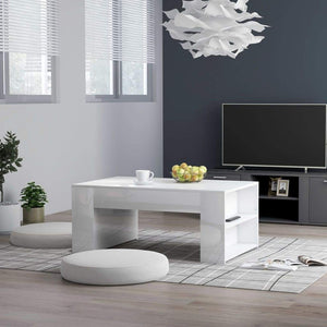 Coffee Table High Gloss White 100x60x42 cm Chipboard sku 802117