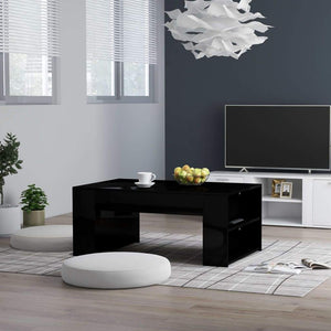Coffee Table High Gloss Black 100x60x42 cm Chipboard sku 802118