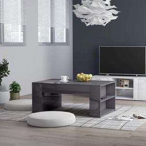 Coffee Table High Gloss Grey 100x60x42 cm Chipboard sku 802119