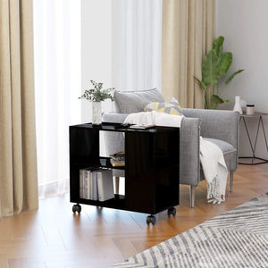 Side Table High Gloss Black 70x35x55 cm Chipboard