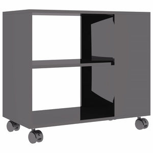 Side Table High Gloss Grey 70x35x55 cm Chipboard