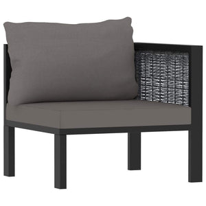 Left Corner Sofa with Cushion Anthracite Poly Rattan