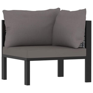 Corner Sofa with Cushion Anthracite Poly Rattan