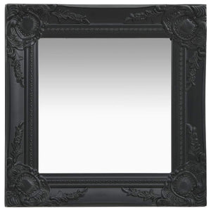 Wall Mirror Baroque Style 40x40 cm Black