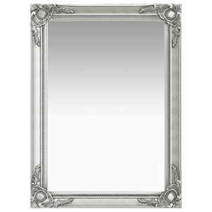 Wall Mirror Baroque Style 60x80 cm Silver