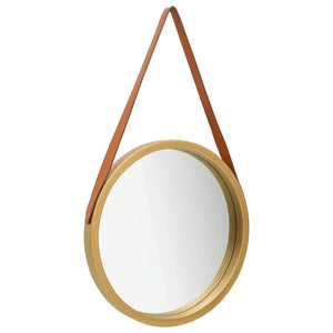 Wall Mirror with Strap 50 cm Gold