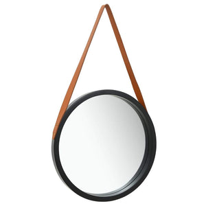 Wall Mirror with Strap 50 cm Black